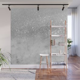 White Marble Silver Ombre Glitter Glam #1 #shiny #gem #decor #art #society6 Wall Mural
