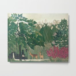 The Waterfall by Henri Rousseau 1910 // Jungle Waterfall Deer Indigenous People Flowers Plant Scene Metal Print