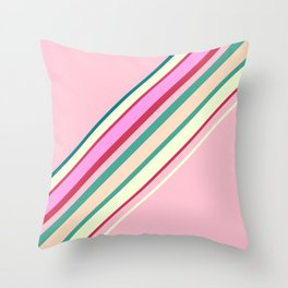 Lemon Strawberry Retro Stripes  Throw Pillow