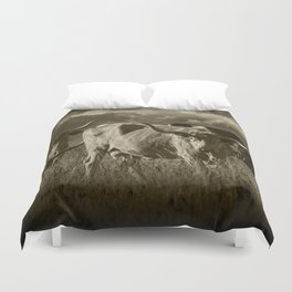Sepia Tone of Texas Longhorn Steers under a Cloudy Sky Duvet Cover