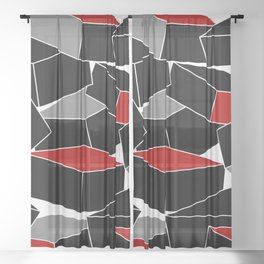 Falling - Abstract - Black, Gray, Red, White Sheer Curtain