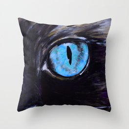 Sass: The Eyes of a Long-Haired Cat Throw Pillow