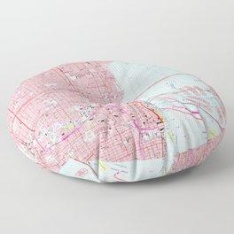 Vintage Map of Miami Florida (1962) Floor Pillow