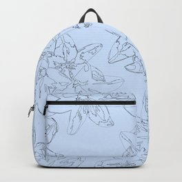 blue line art flower pattern Backpack