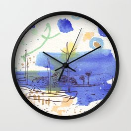 Two Kayaks on the Bay Wall Clock