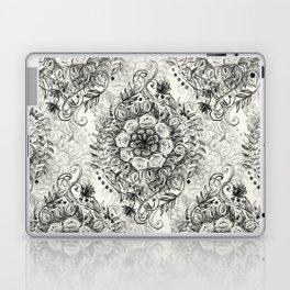 Messy Boho Floral in Charcoal and Cream  Laptop & iPad Skin
