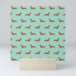 Red Dachshund Chocolate Tan Sausage Dog on Mint Green Background Dog Pattern for Dog Lover Mini Art Print