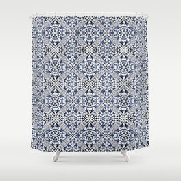 Portuguese Traditional Vintage Decorative Tile Pattern Mosaic Wall Shower Curtain