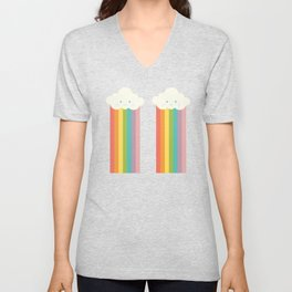 Proud rainbow cloud pattern Unisex V-Neck
