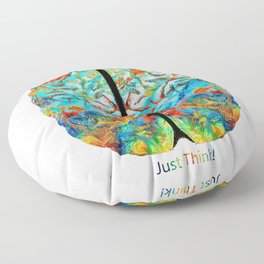 Colorful Brain Art - Just Think - By Sharon Cummings Floor Pillow