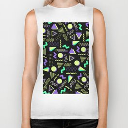 Geometrical retro lime green neon purple 80's abstract pattern Biker Tank