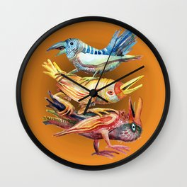 Three Birds Stacked Wall Clock