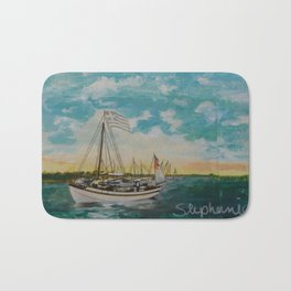 post card in a painting Bath Mat