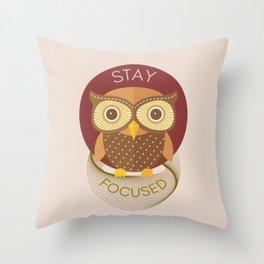 Focused Owl - Stay Focused Throw Pillow
