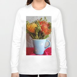 Flowers in a vase - with Pincushion Protea Long Sleeve T-shirt