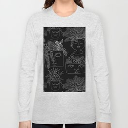 Illustrated Plant Faces in Black Long Sleeve T-shirt