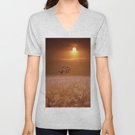 bird and yellow Unisex V-Neck