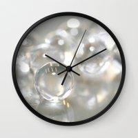 bubbles Wall Clocks featuring Bubbles by Anne Seltmann