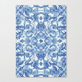 Pattern in Denim Blues on White Canvas Print