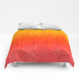 Coral, Guava Pink Abstract Gradient Comforters