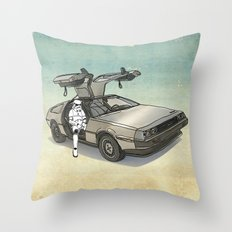 Stormtrooper in a DeLorean - waiting for the car club Throw Pillow
