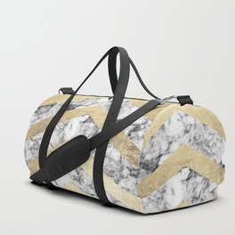 Stylish black white faux gold elegant geometrical marble Duffle Bag