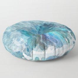 Blue Watercolor Agate Geode Print Floor Pillow