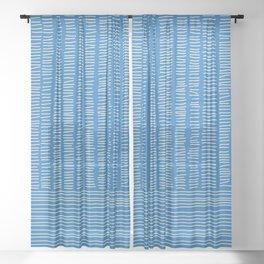 Digital Stitches detail 1 blue Sheer Curtain