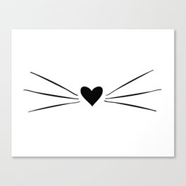 Cat Heart Nose & Whiskers Canvas Print