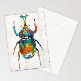 Colorful Beetle Art - Scarab Beauty - By Sharon Cummings Stationery Cards