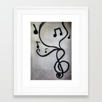 music notes Framed Art Prints featuring Music Notes by S. Vaeth