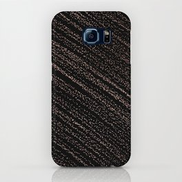 Modern faux rose gold polka dots confetti on black iPhone Case