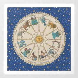 Vintage Astrology Zodiac Wheel Art Print