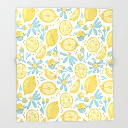 Lemon pattern White Throw Blanket