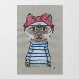 Hip Cat - Girl Canvas Print