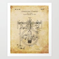 1921 Gyroscopic Compass Patent Design Art Print