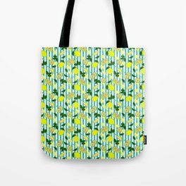 Summery Mediterranean Lemon Fruit on Teal Stripes Pattern Tote Bag