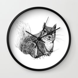 Squirrel drawing Wall Clock