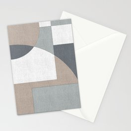 Geometric Intersecting Circles and Rectangles in Neutral Colors Stationery Cards