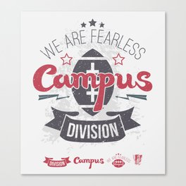 The emblem of rugby campus team in retro style Canvas Print