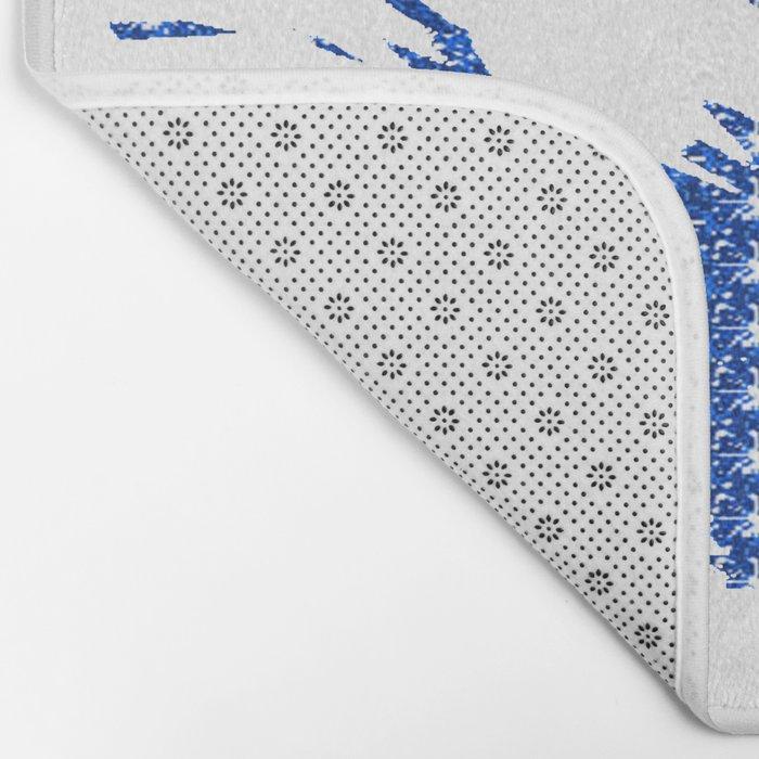 Sparkley Blue Flower Bath Mat
