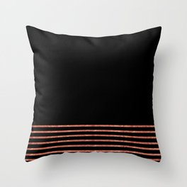 Black and Copper Stripes Throw Pillow
