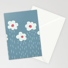 Rainy Flowery Clouds Stationery Cards