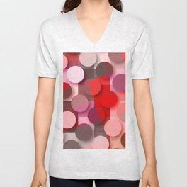 dots & squares red Unisex V-Neck
