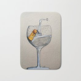 A glass of water with a cork in it Bath Mat