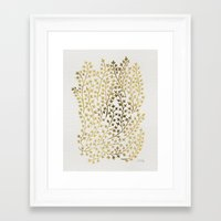 gold Framed Art Prints featuring Gold Ivy by Cat Coquillette