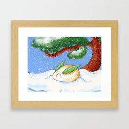 Snow and Mochi Framed Art Print
