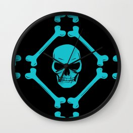 Skull and bones teal on black Wall Clock