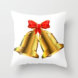 Two Christmas Bells Tied With Red Ribbon Throw Pillow