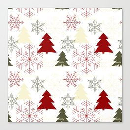 Christmas pattern with gift boxes and snowflakes. Canvas Print